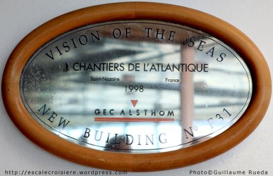 Plaque de chantier - Vision of the Seas