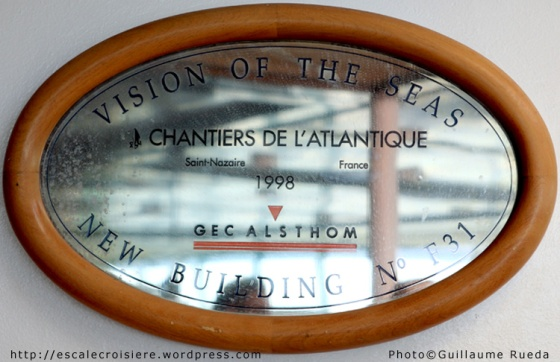 Plaque de chantier - Vision of the Seas