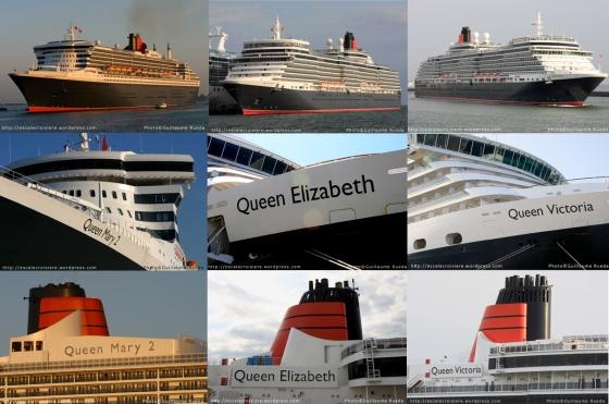 Montage 175 ans Cunard - Queen Elizabeth - Queen Mary 2 - Queen Victoria