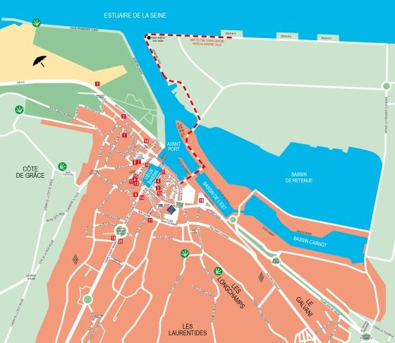 Plan d'accès centre ville Honfleur - Pedestrian access to Honfleur city center
