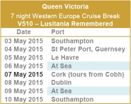 Queen Victoria - Lusitania Remembered