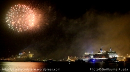 Queen Mary 2 - Queen Victoria - Queen Elizabeth -Feu d'artifice