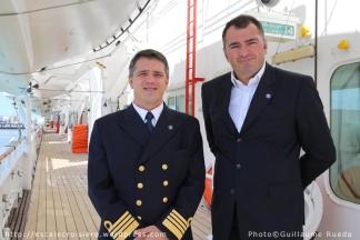 George Ciortan Commandant du paquebot Horizon - Antoine Lacarrière Directeur Général de Croisières de France