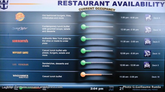 Allure of the Seas - Disponibilité et horaires des restaurants