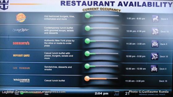Allure of the Seas - Disponibilité et horaires des restaurants
