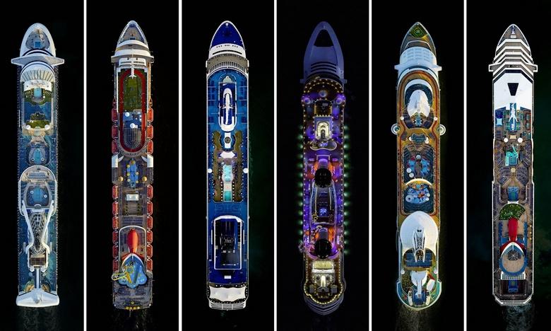 Paquebots vus du Ciel - Carnival Sensation - Norwegian Sky - Disney Dream - Freedom of the Seas - Carnival Victory - Jeffrey Milstein