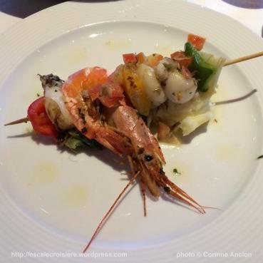 Costa Pacifica - Brochette de crevette et sèches