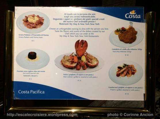 Costa Pacifica - menu avec supplément de prix