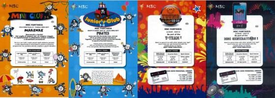 Exemple de programme des clubs enfants par tranche d'age - MSC Fantasia