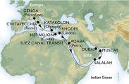 Itinéraire - MSC Grand Voyage Civitavecchia - Dubaï - MSC Fantasia