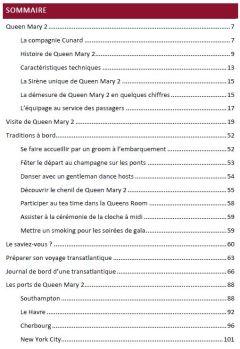Sommaire Queen Mary 2 - Guide de voyage transatlantique