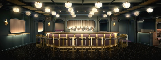 Virgin Voyages Lady Ship - The Manor bar by Roman and Williams