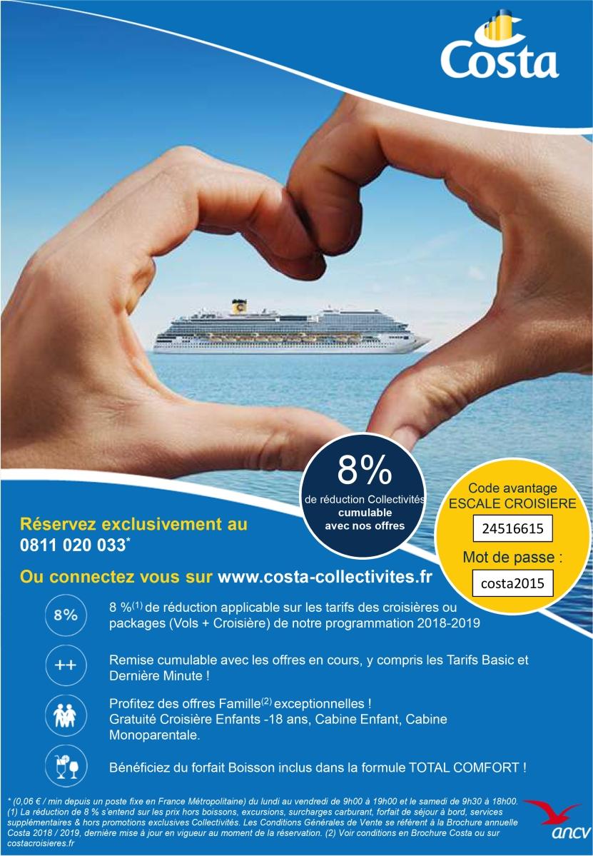 Bon plan Costa - Avantage Escale Croisière - Offre 8% Costa Croisières