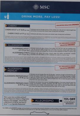 Exemple de forfait all inclusive MSC Croisières
