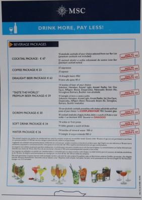 MSC Croisières - packages boissons