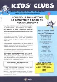 MSC Splendida - Kid's Club Information aux familles
