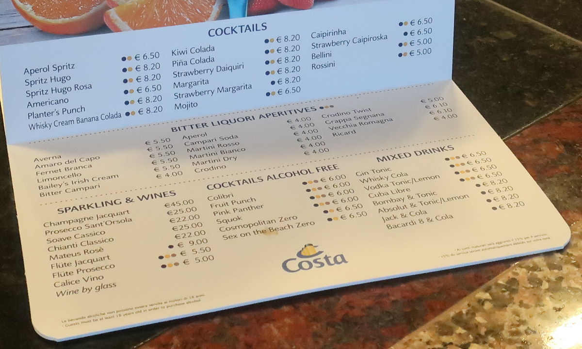 Carte boisson - Costa Fascinosa