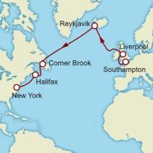 QM2 - Carte Transatlantique route des Vikings