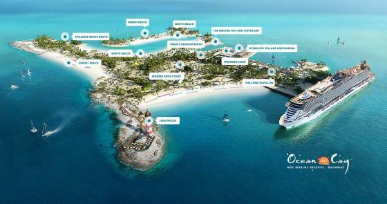 Plan de l'île d'Ocean Cay MSC Réserve Marine