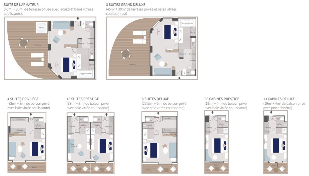 Types de cabines - Ponant Explorer