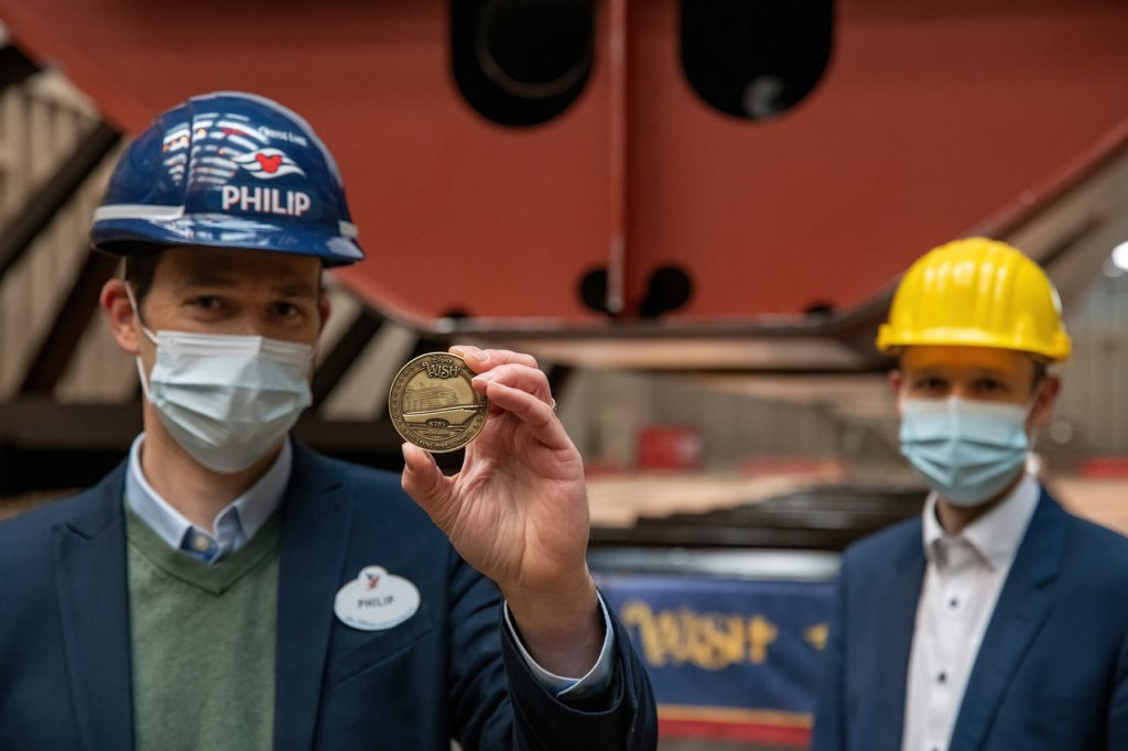 2021-04-08 - Pose de la quille Disney Wish Keel laying